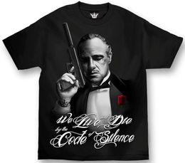 Mafioso erkek Susturucu T Shirt Siyah Tee Giyim Konfeksiyon indirimde