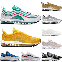 974c4f9740b Nike Air Max 97 97 s zapatos casuales South Beach Japan Silver Bullet  Undefeated Pack Triple Negro Blanco Rosa Hombres Mujeres tamaño 36-45