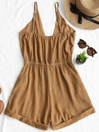 $enCountryForm.capitalKeyWord Australia - Cross Front Rolled Up Hem Romper Women Rompers Solid Jumpsuit Summer Short Overalls Jumpsuit Female Girl Cotton Playsuit Casual