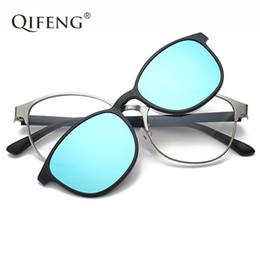 cde41d2a2 QIFENG Óculos Ópticos Quadro Homens Mulheres Com Ímãs Polarizados Clipe Em  Óculos De Sol Óculos de Prescrição Espetáculo Quadro QF062