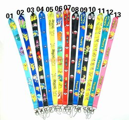 neck straps for id cards Canada - DHL free shipping - wholesale Mixed narrow lanyards Pikachu for kid ID school card neck lanyard KEYS mobile strap lanyard