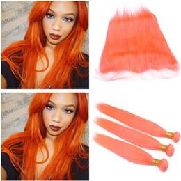 Cheap Colored brazilian hair bundles online shopping - Pure Orange Virgin Brazilian Human Hair Bundles Silky Straight with Frontal Cheap Human Hair Weaves Colored Orange with x4 Lace Frontal