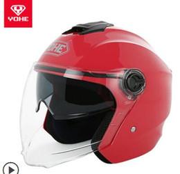 Yohe Half Helmets Australia - YOHE YH-837A double lens men and women warm half helmet four seasons summer sun protection electric motorcycle helmet