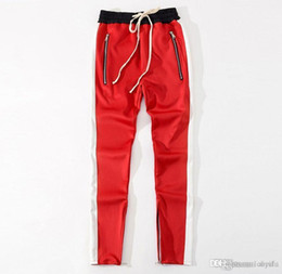 $enCountryForm.capitalKeyWord Canada - New Arrival Men's Red Black Retro Sports Pants Trousers Inside Zipper Stripe Color Stripes Men's Casual Pants