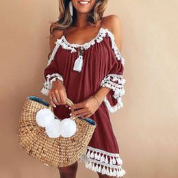 15923c4f1860 Summer Spaghetti Strap Boho Beach Dresses Casual Loose Sundress Backless  Tassel Plus Size 5XL Elegant Dress Clothes Women