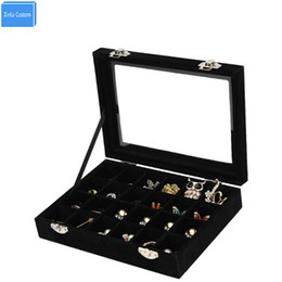 China 2017 Black Red Wood Velvet 24 Slots Women Jewelry Watch Accessories Collect Desk Case Makeup Collect Box Case Home Storage Box cheap wood makeup storage suppliers