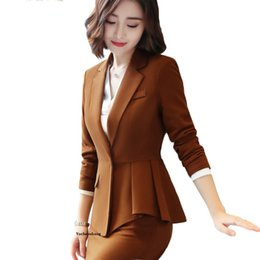 038089a5d4a9 Fashion elegant women blazer of high quality new winter formal Business  ruffles wine jacket office ladies plus size work coat