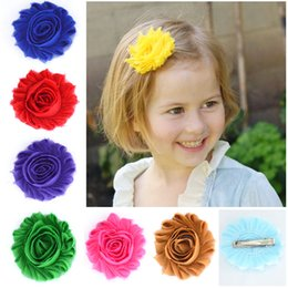 sunflowers hair clips NZ - 20color baby kids Shabby Chiffon Flower Hairpin Baby Girl's Hair Accessories Girl Sunflower Hair Clip Barrettes