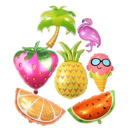 Discount theme party supplies wholesale - Hawaii Theme Party Foil Balloons Flamingo Pineapple Ice Cream Fruits Balloons Summer Party Birthday Decoration Party Sup