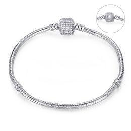 23cm Silver Bracelets Australia - DIY Pulseira Beads Charms Fits Pando Bracelet 17-23CM 1PCs ONLY silver 3MM Snake free shipping on 925 Chain Fits European NB02