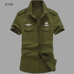 casual military clothing NZ - Newest 2017 Plus Size M-6XL classics men's military uniform style Shirt Casual short sleeved shirts 100% Cotton Men Top Clothes