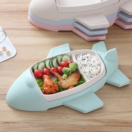 Infant Feeding Bowls NZ - Bamboo Fiber Food Containers Aircraft shape Bowl Cup Plates Sets Infant Training Dishes Kids Tableware Baby Feeding Supplies