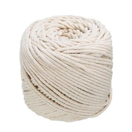 cotton rope diy UK - Natural Beige Soft Cotton Twisted Cord 4mmx110m Macrame Rope Craft Artisan String DIY Handmade Tying Thread Cord Rope