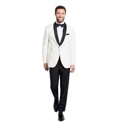 $enCountryForm.capitalKeyWord UK - 2018 Men Suits White Black Shawl Lapel Custom Made Wedding Suits Bridegroom Groom Tuxedos Blazer Prom Evening Dress Slim Fit Casual Best Man