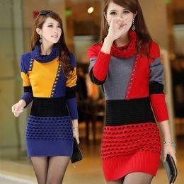 77c2ea85b2f5a Women Fall Winter Turtleneck Long Sleeve Sweater Dress Polka Dot Plus Size  Women Dress free shipping