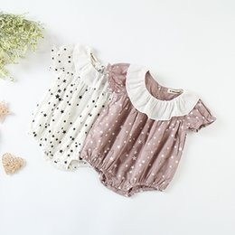 c1496a78f20 Baby girls cotton linen rompers toddler kids stars printed hole romper baby  cotton clothing girls falbala lapel triangle jumpsuits Y6046