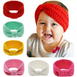 Babies Hair Wearing Headbands Australia - 6 Colors Girls Solid color Knitted hairband Cute Baby knitting headband crocheted hair wear