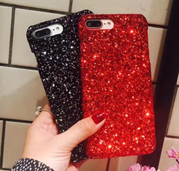 Discount capa iphone glitter - For iPhone X Luxury Bling Glitter Shining Flash Powder case For iPhone 7 Plus 6 6S 8 Plus 5 5S SE PC Hard Phone Back cov