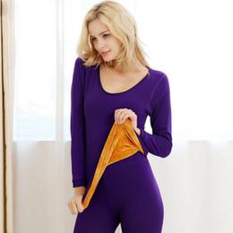 Toptan satış Kadınlar Pamuk Sıcak Kış Bodysuit Paçalı Don Giyim Setleri Shaperwear Termal Iç Çamaşırı Kadın Termos Lingerie Intimates