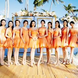 Discount organza junior bridesmaid dresses - Cheap Short Bridesmaid Dresses Under 50 V Neck Organza Knee Length Junior Bridesmaids Dress For Wedding Party Gown