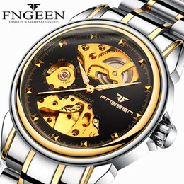 $enCountryForm.capitalKeyWord Australia - FNGEEN Steel Waterproof Mechanical Watches for Men Hodinky Tourbillon Skeleton Automatic Saat Business Male Clock Gold Watches Reloj Hombre