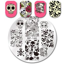 $enCountryForm.capitalKeyWord NZ - BORN PRETTY Round Stamping Plate Skull Flower Heart Halloween 5.5cm Manicure Nail Art Image Plate BP-146