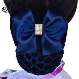 Banks Hair UK - Haimeikang Blue Headband Stewardess Bank Staff Nurse Professional Network Rhinestone Clip Bows Headwear Women Hair Accessories