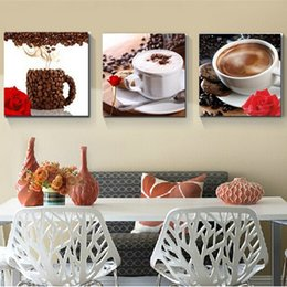 $enCountryForm.capitalKeyWord NZ - Canvas HD Prints Paintings Home Decor Framework 3 Pieces Coffee Cup Pictures Coffee Bean Flower Posters Restaurant Room Wall Art