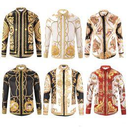 Wholesale tiger animal print shirts for sale – custom Of Men D Floral tiger Print Colour Mixture Luxury Casual Harajuku Shirts Long sleeves Men s Medusa Shirts M XL