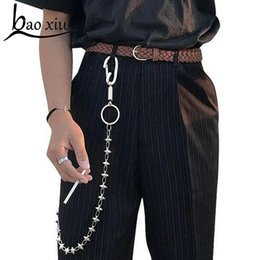 Discount hipsters jeans - 2018 Long Metal Rivet Chain Rock Punk Trousers Hipster Pant Jean Keychain Ring Clip Keyring HipHop Accessories