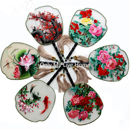 china art paint NZ - Fine Vintage Handle Gift Fan Traditional Craft Chinese Fan Painting Full Handmade Double Embroidery Mulberry Silk Hand Fan Decoration