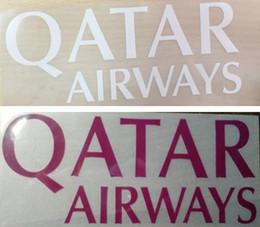 Discount hot stamping logo - Hot stamping QATAR AIRWAYS front sponsor logo pink stickers printing armlets football badges printed armband white impre