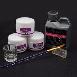 Conjunto de unhas de manicure Acrílico Liquid Acrylic Powder 3d Tips Glass Cup Uñas Brush Crystal Nail Polymer Builder Manicure Tools Set Kit