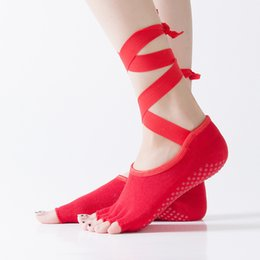 Discount wholesale dark red ties - Women Tied Pilates Yoga Toe Socks Professonal Sports And Dance Socks Slippers Hot Cotton Socks New Ribbons Non-Slip Gym