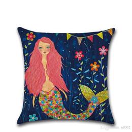 $enCountryForm.capitalKeyWord UK - Mermaid Pillow Case Variety Pattern Styles Cartoon Only Cushion Cover Colorful Sea Maiden Home Sofa Bedroom Decor 4 8kh ii
