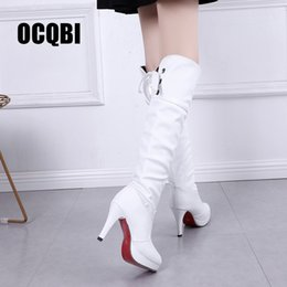 boot red platforms 2019 - 2019 Women Over Knee High Boots Sexy Spike High Heels Red Bottom Shoes Round Toe Platform Back Lace Up Women Winter Snow