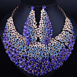$enCountryForm.capitalKeyWord NZ - Elegant Wedding Jewelry Full Color Crystal Rhinestones Necklace Earrings for Women African Jewelry sets
