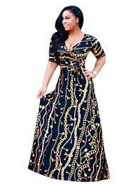 Printed Indian Dress UK - Indian Dress Sari 2017 New Cotton European Fashion Hot Golden Long Chain Pattern Printing Sleeve Nightclub Sexy Dress Skirt