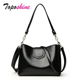 Discount small wax bags - Shang new Oil Wax Leather Ladies Bucket Bag Fashion Trend Simple Shoulder Bag Wild Casual Personality Slung Small