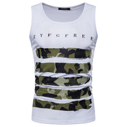 $enCountryForm.capitalKeyWord UK - Mens Striped Camouflage Printed Fitness Gym Tank Tops Aerobics Clothing Male Sports Workout Sleeveless Body-hugging Vests Free Shipping