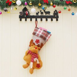 $enCountryForm.capitalKeyWord Australia - 5pcs Christmas Gift Socks Santa Claus Snowman Elk Children Christmas Candy Bag Display Christmas Tree Supplies 21.5x59cm