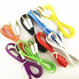 colorful flat noodle 3 5mm aux audio auxiliary cable jack male to male plug  stereo cord wire for iphone samsung