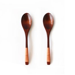 $enCountryForm.capitalKeyWord UK - 2pcs Wooden Spoons Long Handled Spoon For Kids Spoon Wood Rice Soup Dinner Wooden Utensils Kitchen Dinner Tableware Set