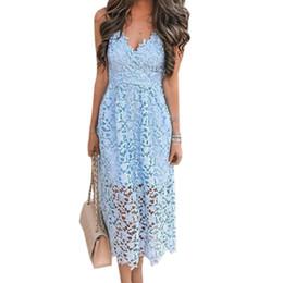 white lace dresses midi 2019 - Girls Hollow Out A-line Sundress Women Sexy Spaghetti Strap Backless Summer Lace Dresses Femme V-neck Midi Dres Plus Siz