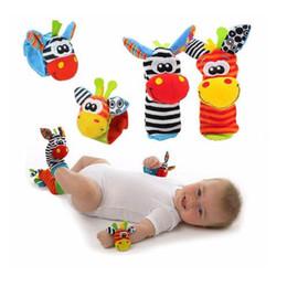 Foot Socks Cartoon NZ - Cartoon Baby Toys 0-12 Months Soft Animal Baby Rattles Children Infant Newborn Plush Sock Baby Toy Wrist Strap Baby's Foot Socks