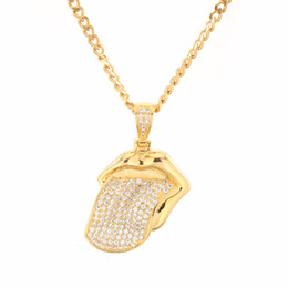 $enCountryForm.capitalKeyWord Australia - Micro Paved Rhinestone Big Tongue Pendant Mens Iced Out Necklace 18K Yellow Gold Filled Hip Hop Rapper Band Jewelry Gift