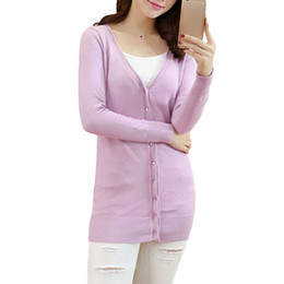 2017 Autumn Women Knitted Cardigan V Neck Long Sleeve Button Knitting  Sweater Coat Solid Slim Outerwear Casual Thin Knitwear 04c5e61a3