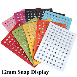 $enCountryForm.capitalKeyWord NZ - New 12mm Snap Button Jewelry Display PU Leather Mini Snap Display Holders Fit 88pcs 12mm Snap Buttons Wholesale Display Stand
