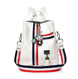 Colorful Buttons Bags UK - MENGXILU Cute Keychain Backpacks For Girls Fashion Tassel Women Backpack Female Colorful Daypack SchoolBag Leather Shoulder Bags