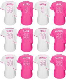 caacd053d Custom 2016 Mother Day 44 Reggie Jackson Garrett Richards Kole Calhoun 29  Rod Carew 28 Heaney 9 Cameron Maybin Baseball Jerseys Pink
